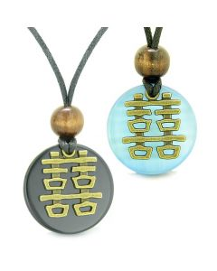 Double Happiness Love Couples Yin Yang Fortune Amulets Agate Sky Blue Cats Eye Medallion Necklaces