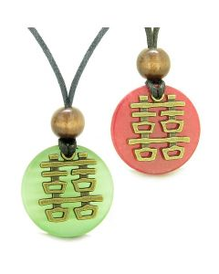 Double Happiness Love Couples Yin Yang Powers Fortune Amulets Green Cats Eye Red Quartz Necklaces