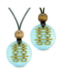 Double Happiness Love Couples Yin Yang Powers Fortune Amulets Sky Blue Cats Eye Medallion Necklaces