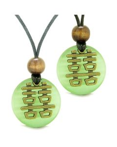Double Happiness Love Couples Yin Yang Powers Fortune Amulets Green Cats Eye Medallion Necklaces