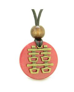 Double Happiness Feng Shui Amulet Fortune Powers Cherry Red Quartz Coin Medallion Pendant Necklace