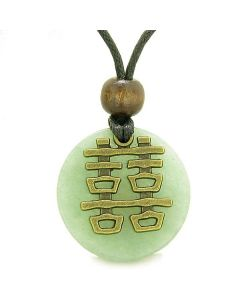 Double Happiness Feng Shui Amulet Fortune Powers Green Quartz Coin Medallion Pendant Necklace