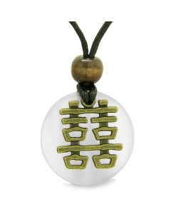 Double Happiness Feng Shui Amulet Fortune Powers White Cats Eye Coin Medallion Pendant Necklace