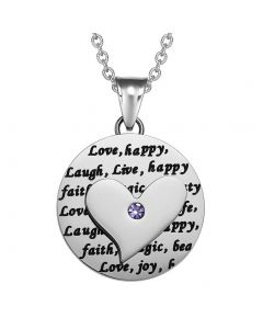 Adorable Heart Inspirational Medallion Live Love Laugh Faith Amulet Cute Purple Crystal 22 Inch Necklace