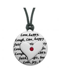 Adorable Heart Inspirational Medallion Live Love Laugh Faith Amulet Royal Red Crystal Cord Necklace