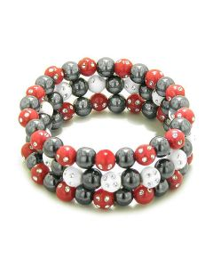 Amulets Set of 3 Individual Simulated Hematite Magnetic Bracelets in Red White Sparkling Crystals