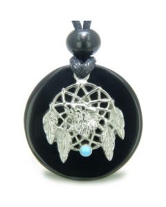 Amulet Howling Wolf Dream Catcher Medallion Magic Circle Onyx Spiritual Powers Pendant Necklace