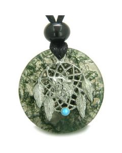 Amulet Howling Wolf Dream Catcher Medallion Magic Green Moss Agate Good Luck Pendant Necklace