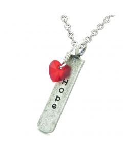 Handcrafted Inspirational Hope Tag Cute Royal Red Faceted Heart Lucky Charm Crystal 22 Inch Necklace