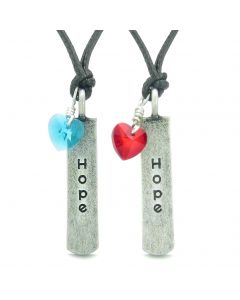 Handcrafted Inspirational Hope Tag Sky Blue Royal Red Heart Crystal Charms Love Couples BFF Set Necklace