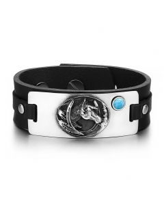 Brave Mustang and Lucky Horse Shoe Amulet Tag Simulated Turquoise Adjustable Black Leather Bracelet