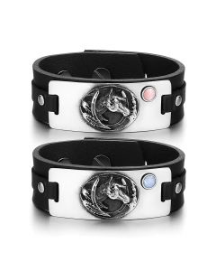 Brave Mustang Lucky Horse Shoe Love Couples Pink Blue Simulated Cats Eye Black Leather Bracelets
