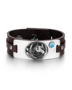Brave Mustang and Lucky Horse Shoe Amulet Tag Simulated Turquoise Adjustable Brown Leather Bracelet