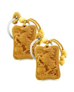 Amulet Fortune Horse Money Bag Lucky Coins Magical Charms Feng Shui Keychain Set Blessings