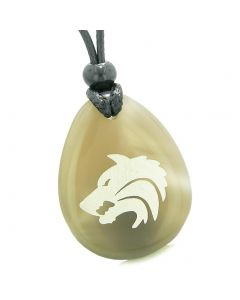 Amulet Brave Howling Wolf Head Spiritual Protection Power Natural Agate Wish Stone Totem Pendant Necklace