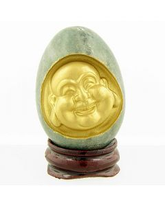 Good Luck Green Marble Buddha Egg On Wooden Stand