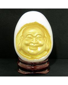 Good Luck Snow White Marble Buddha Egg On Wooden Stand