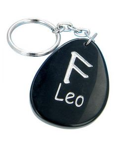Black Onyx Leo Lucky Astrological Rune Keychain