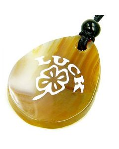 Lucky Clover Wish Stone Natural Agate Gemstone Necklace