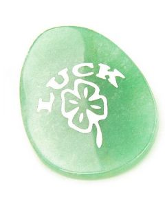 A Money Talisman Word Stone Lucky Clover In Aventurine