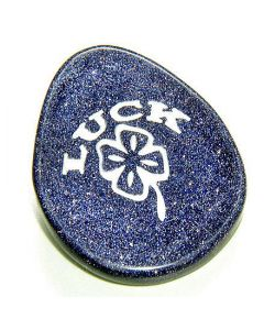 Blue Gold Stone Good Luck Talisman Word Stone Lucky Clover