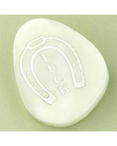 Good Luck Talisman Word Stone Lucky Horse Shoe In White Jade
