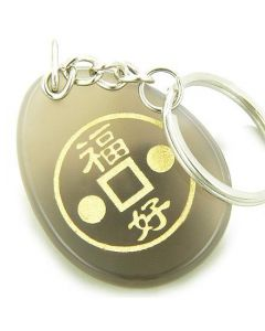 Fortune Lucky Coin Circle Natural Agate Amulet Stone Keychain