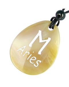 A Natural Agate Aries Lucky Astrological Rune Necklace