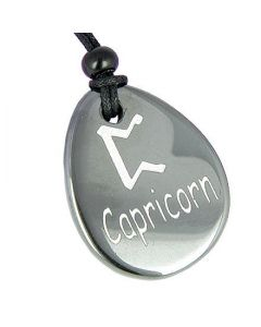 A Hematite Capricorn Lucky Astrological Rune Necklace