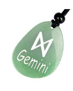 A Aventurine Gemini Lucky Astrological Rune Necklace