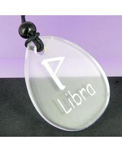 A Rock Crystal Libra Lucky Astrological Rune Necklace