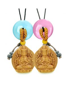 Kwan Yin Quan Car Charm Home Decor Blue Pink Simulated Cats Eye Donut Couples Best Friend Amulets