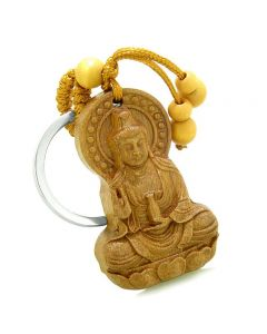 Amulet Kwan Yin Quan and Blooming Lotus Magical Powers Charms Feng Shui Symbols Keychain Blessing