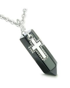 Amulet Crystal Point Holy Cross Charm Black Onyx Gemstone Spiritual Positive Pendant Necklace
