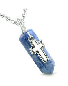 Amulet Crystal Point Holy Cross Charm Sodalite Gemstone Spiritual Positive Pendant Necklace