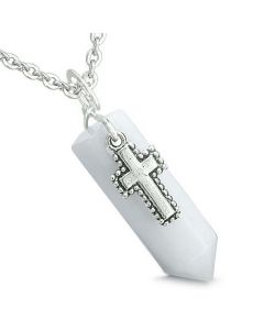 Amulet Crystal Point Holy Cross Charm White Jade Gemstone Spiritual Positive Pendant Necklace
