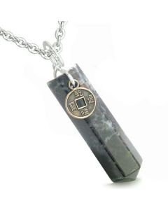 Amulet Lucky Charm Coin Crystal Point Dragon Blood Protection Positive Energy Pendant Necklace