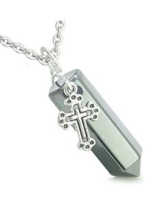 Amulet Crystal Point Holy Cross Charm Hematite Positive Spiritual Pendant Necklace