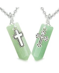 Amulets Positive Balance Energy Holy Cross Couples Best Friends Aventurine Crystal Points Necklaces