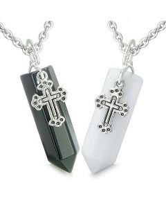Amulets Energy Love Couple Best Friends Holy Cross Crystal Points Jade Onyx Pendants Necklaces