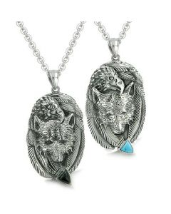 Amulets Couples Best Friends Courage Wolf Eagle Unity Feathers Turquoise Onyx Arrowhead Necklaces