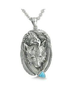 Amulet Courage Wolf Eagle Unity Feathers Turquoise Arrowhead Spiritual Pendant Necklace