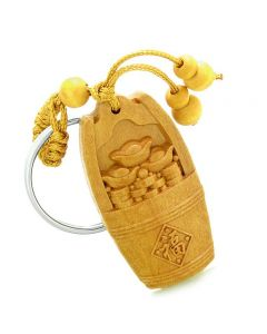 Amulet Money Bucket Wulu Lucky Coins Charms Good Luck Powers Feng Shui Keychain Blessing
