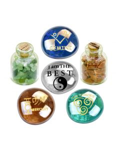 Ancient Zodiac Gemini Yin Yang Powers Birthstones Green Quartz Goldstone Magic Glass Stones Bottles