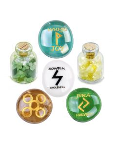 Ancient Runes Joy Wunjo Jera Sowelu Inspirational Amulets Glass Stones Citrine Green Quartz Bottles