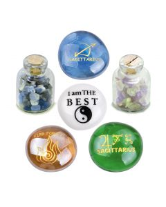 Ancient Zodiac Sagittarius Yin Yang Powers Birthstones Sodalite Fluorite Magic Glass Stones Bottles
