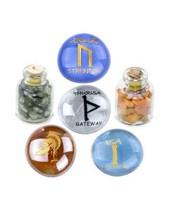 Ancient Runes Self Confidence Isa Uruz Thurisa Amulets Glass Stones Jasper Obsidian Bottles Set