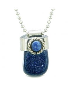 Handcrafted Free Form Tumbled Blue Goldstone and Sodalite Cabochon Amulet 22 Inch Pendant Necklace