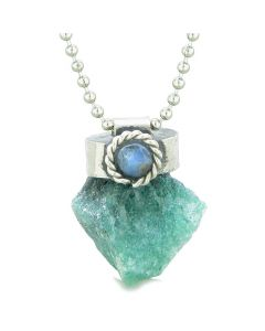 Handcrafted Free Form Rough Green Quartz and Sodalite Cabochon Amulet 22 Inch Pendant Necklace