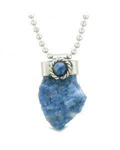 Handcrafted Free Form Rough Sodalite and Sodalite Cabochon Amulet 18 Inch Pendant Necklace
